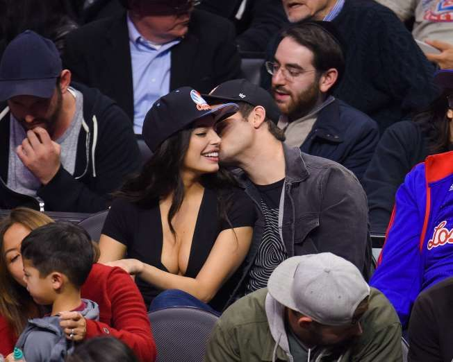 Celebrity PDA of 2017 - December 11, 2017:  Adam DeVine gave a little sugar to girlfriend Chloe Bridges at the Oklahoma City Thunder vs. Los Angeles Clippers NBA game at the Staples Center in Los Angeles on Jan. 16.