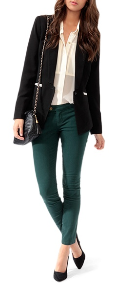 emerald colored pants are in this fall