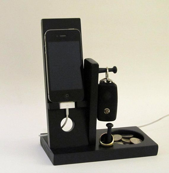 Iphone Stand with Mens Valet Key Holder Ring Holder Cuff link Holder Coin holder