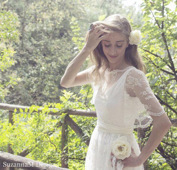 Ivory Bohemian Wedding Dress Beautiful Lace by SuzannaMDesigns
