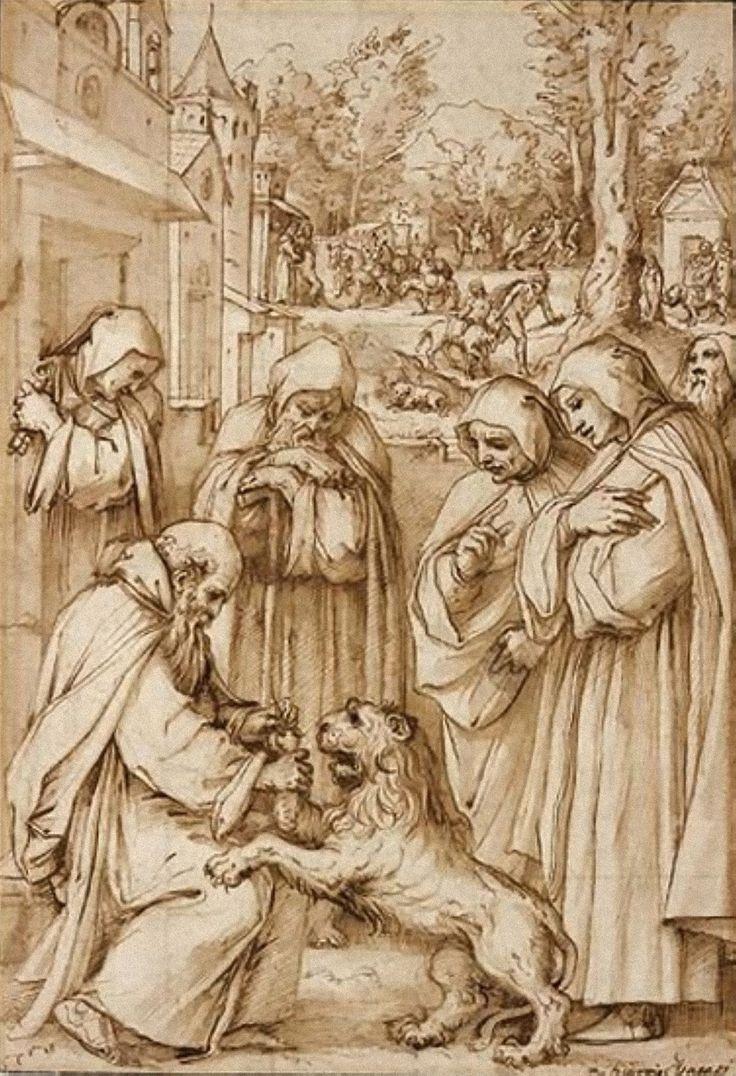 Giorgio Vasari (1511-1574) St Jerome And The Lion 1572 (33 x 23 cm)