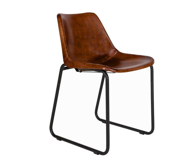 Voorbeeld van Leren stoel Rough bruin BePureHome