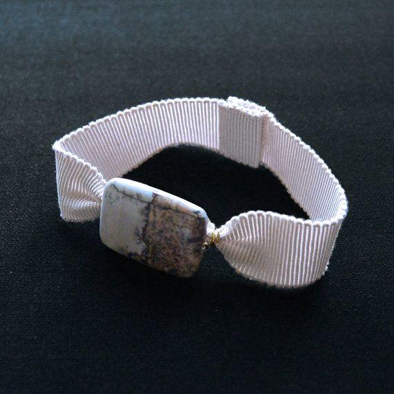 Ribbon Bracelet with Peacock Jasper Stone by LilaMorency on Etsy