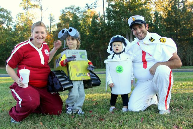 Family Costumes: Wall-E, EVE, captain and axiom passenger || Put Up Your Dukes: Wall-E-Ween: Homemade DIY Group Wall-E Costumes