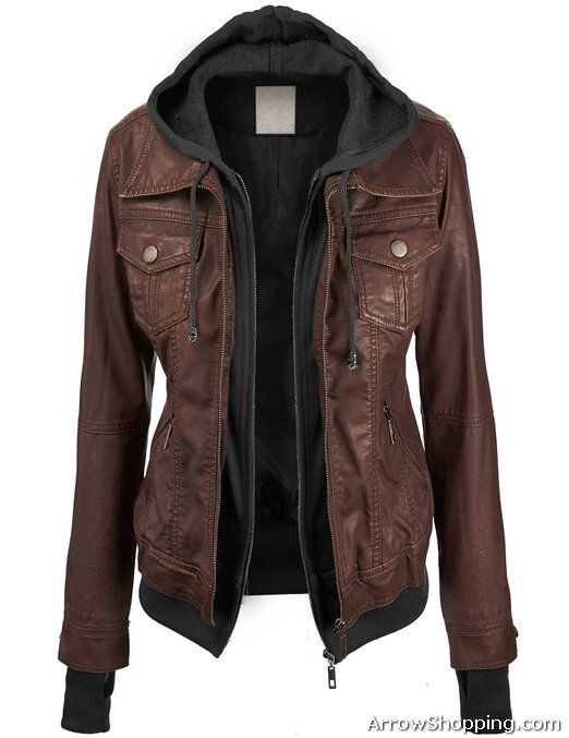 Arrow Women Hooded Real leather Jacket – jhgv1c12 ...