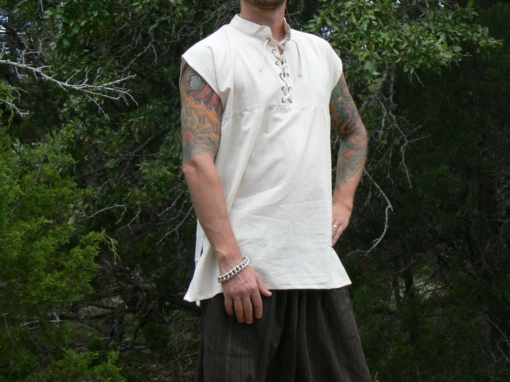 Large Sleeveless Cotton Renaissance Shirt Lace-Up Pirate Medieval Costume Cream | eBay