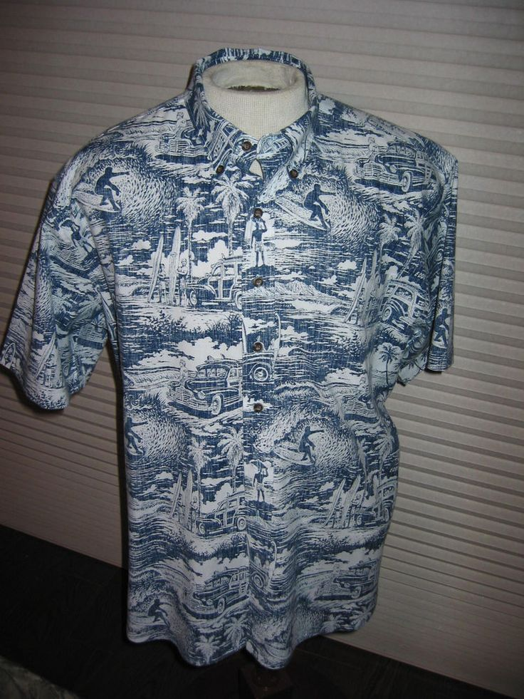 Reyn Spooner Eddy Y Hawaiian Aloha Shirt XXL Reverse Print Woody Surfing Palms #ReynSpooner #ButtonFront