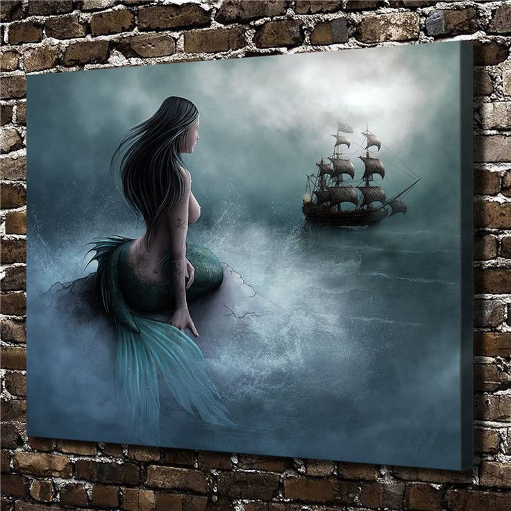 Hd Picture Print Art Painting Home Decoration, Siren Mermaid Galleon 24X30In