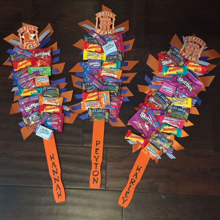 Candy Spirit Sticks! Great team gifts! Use free paint stirrer from Home Depot, paint it and add ribbon and candy with hot glue! Stickers or vinyl letters or lettering