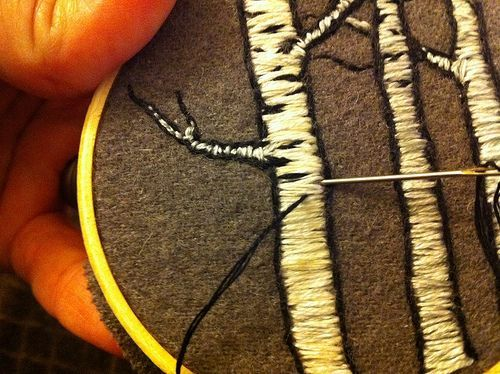 birch tree embroidery - I really love the use of felt as the background