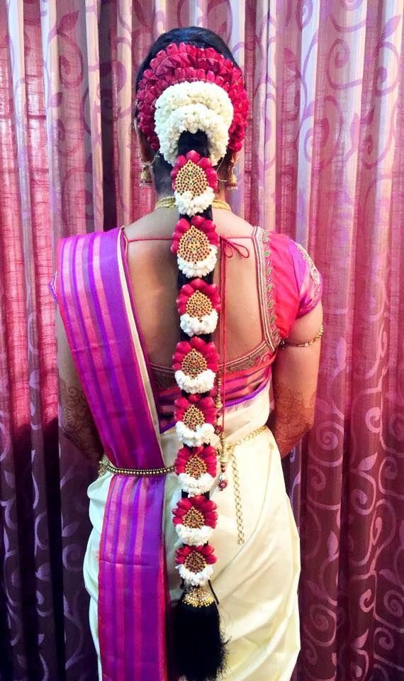 South Indian bride. Temple jewelry. Jhumkis.silk kanchipuram sari.Braid with fresh flowers. Tamil bride. Telugu bride. Kannada bride. Hindu bride. Malayalee bride.Kerala bride.South Indian wedding.
