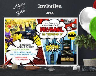 Invitación de Lego Batman Lego Batman cumpleaños fiesta de