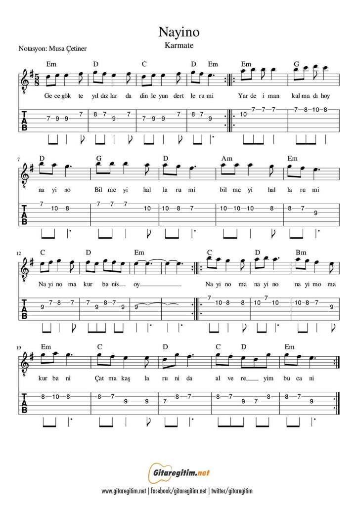 Nayino Gitar Nota Tab Gitaregitim Net Gitar Flut Muzik Notalari