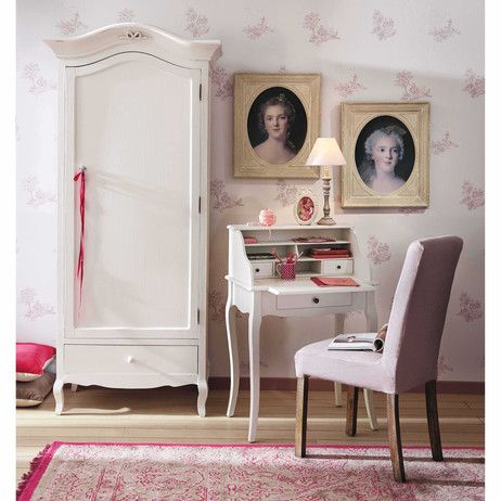 bureau secr taire en bois blanc l 68 cm s raphine maisons du monde coiffeuse rangement. Black Bedroom Furniture Sets. Home Design Ideas