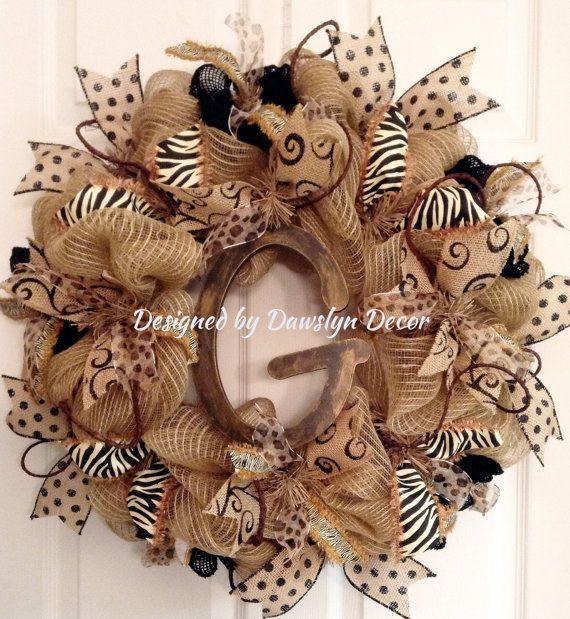 Burlap Deco Mesh Initial Wreath Burlap Wreath by DawslynDecor,