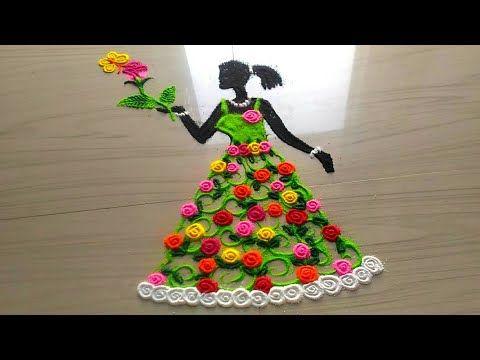 Unique creative color combination beautiful peacock rangoli design in simple method by Jyoti Rathod - YouTube