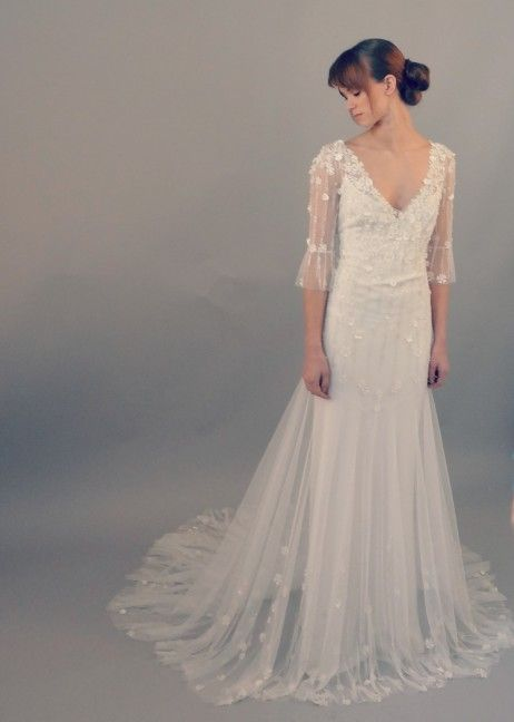 Delicate beading and flowers flowing layers victorian for Victorian inspired wedding dress