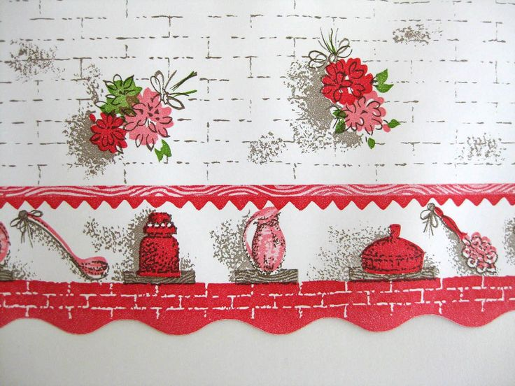 Wallpapers vintage and kitchen wallpaper on pinterest for Wallpaper borders kitchen ideas
