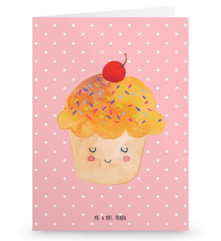 Grußkarte Cupcake aus Karton 300 Gramm  weiß - Das Original von Mr. & Mrs. Panda.  Die wunderschöne Grußkarte von Mr. & Mrs. Panda im Format Din Hochkant ist auf einem sehr hochwertigem Karton gedruckt. Der leichte Glanz der Klappkarte macht das Produkt sehr edel. Die Innenseite lässt sich mit deiner eigenen Botschaft beschriften.    Über unser Motiv Cupcake  Die Cupcake Zeichnung ist ein besonders niedliches Motiv aus der Mr. & Mrs. Panda Kollektion.    Verwendete Materialien  Diese…