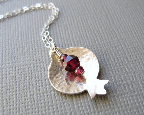 Hammered Sterling Silver Pomegranate Necklace by Armillatadesigns