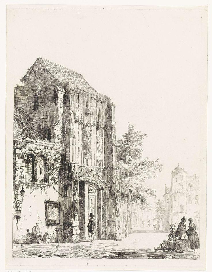 Cornelis Springer | Verkopers voor een kerkportaal, Cornelis Springer, 1827 - 1891 | Een man gaat een kerkportaal binnen. Tegen de muur van de kerk zit een man met hond. Rechts enkele verkopers op straat.