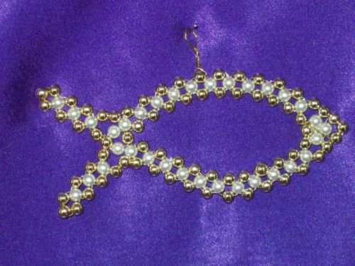 handmade gold and pearl fish chrismon style