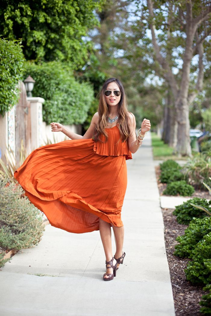 Tangerine jersey dress is perfect for spring
