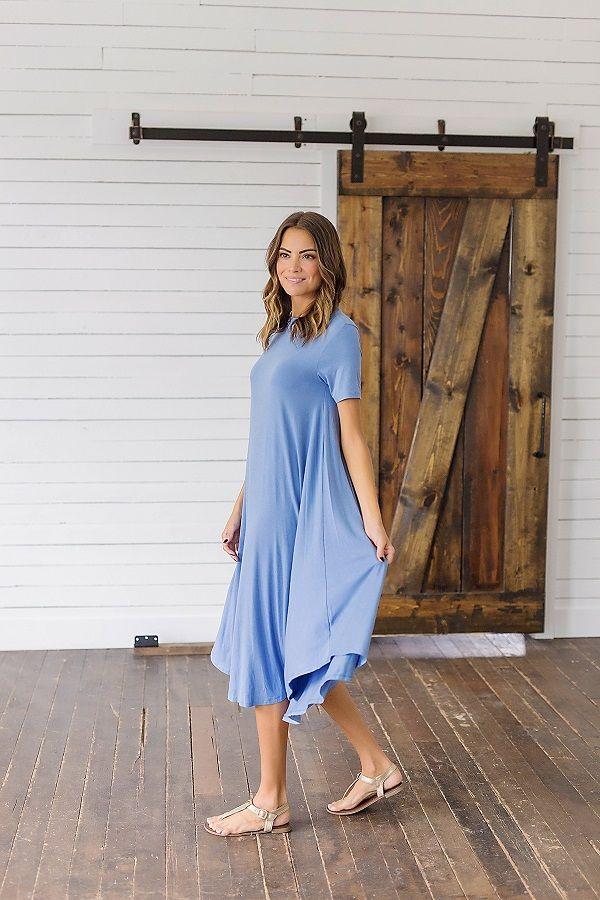 Blue Swing Midi Dress from Bella Ella Boutique    Bella Ella Boutique. Womens Online Clothing Boutique. Blue Swing Dress. Light Blue Dress. Dresses for Summer. Modest Dresses for Summer. Summer Fashion. Summer Dresses. Modest Womens Clothing Boutique. Utah Boutique. Online Clothing for Women.