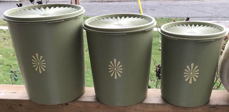 Vintage Tupperware Canister Set Green Mid Century Modern Kitchen Decor   eBay