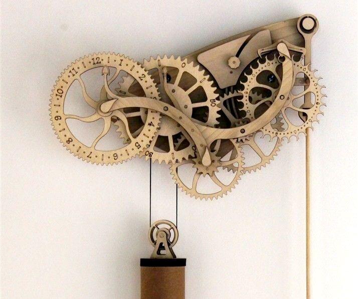 Mechanical Wooden Clock Kit | DudeIWantThat.com