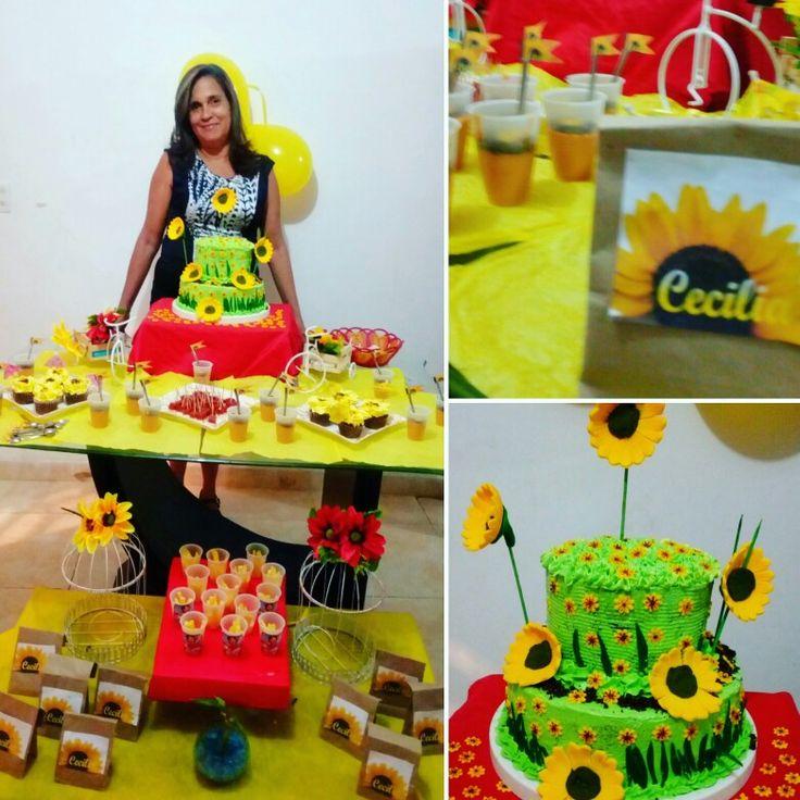 Torta, cupcakes y postres decorados con girasoles para mi bella madre