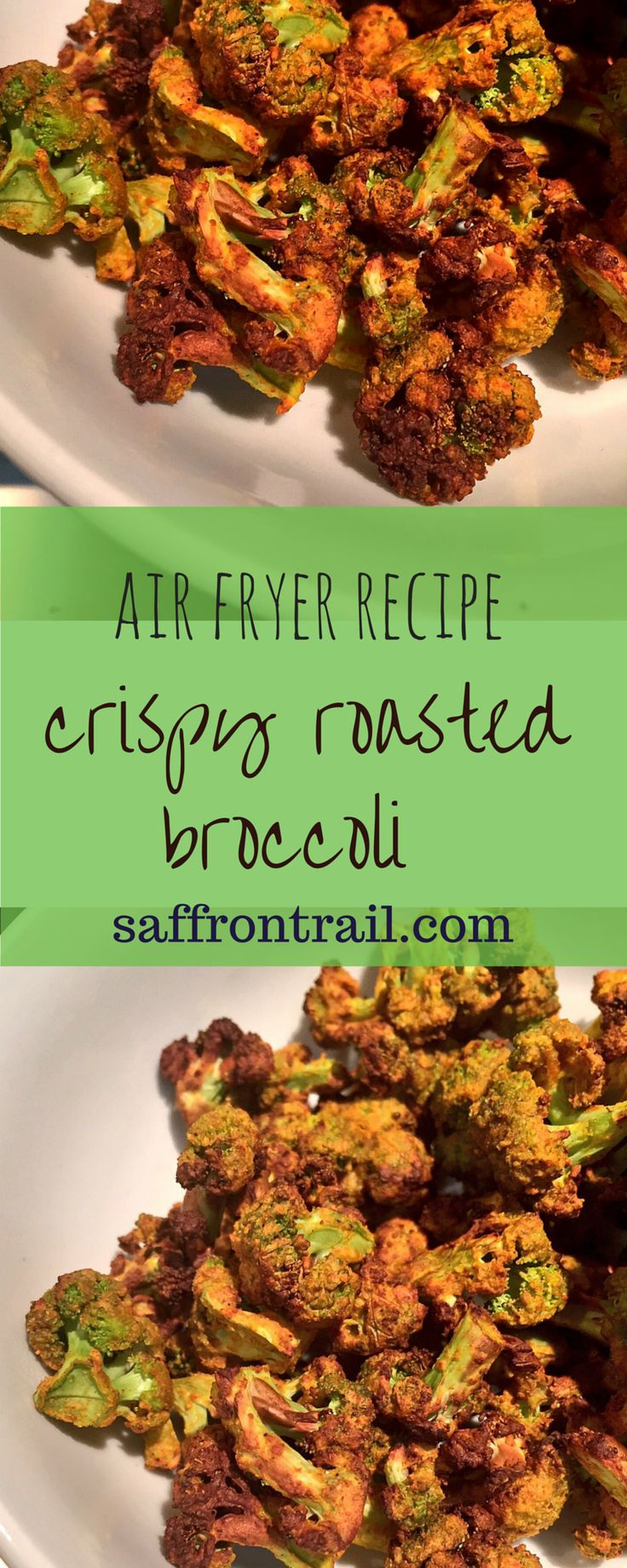 You MUST try this recipe for zero-oil crispy roasted broccoli in Air Fryer - 96 calories per serving. Makes a healthy snack or an easy fast-day recipe (5-2 diet) - full of protein and fibre.