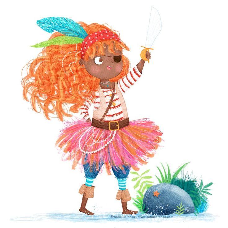 Pirate girl - children's illustration by Sofia Cardoso #illustration #kidlitart #pirate