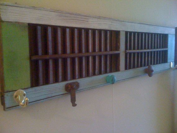 Refinished beach cottage shutter fitted with hooks by redcabinet, $40.00