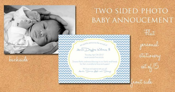Blue and Yellow Chevron Photo Baby Annoucement by CharmedPaperie, $3.00Chevron Photos, Birthday Parties, Parties Ideas, Paperie Shops, Charms Paperie, Baby Annoucement, Photos Baby, Photo Baby, Baby Stuff