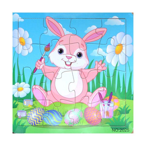 Fa puzzle 16 darabos- húsvéti nyuszi   Pandatanoda.hu Játék webáruház