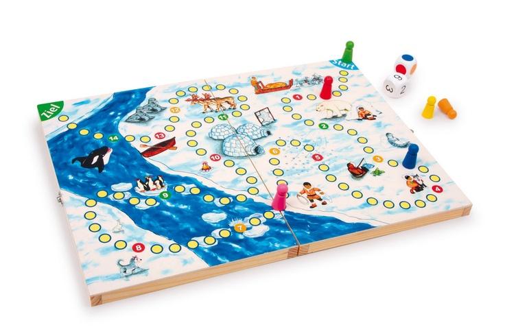 Eskimo-Spiel.  Hier soll jeder Spieler seine Figur auf eine lange Reise bringen – doch unterwegs muss so manches Abenteuer überstanden werden! Ein tolles Spiel in einem Holzkoffer für 2 – 6 Spieler ab 4 Jahren.