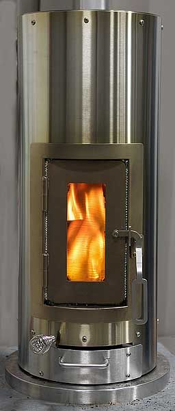 "Lehet's ""Kimberly Stove""...a wood-burning stove for the tiny abode. This is super efficient, and very small. Love it!"