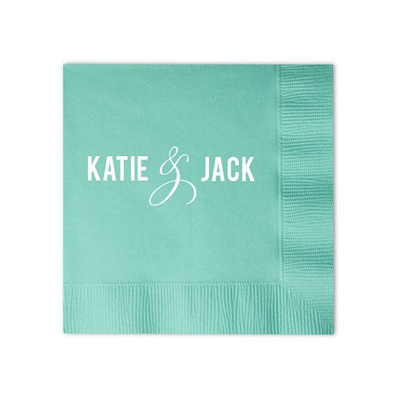 250 Custom Napkins with Names by GraciousBridal on Etsy. Set of 100- $38.00. Be it your wedding reception, engagement party or bridal shower be sure to include these contemporary and chic personalized cocktail napkins to add that stylish and flirty flare to any event!
