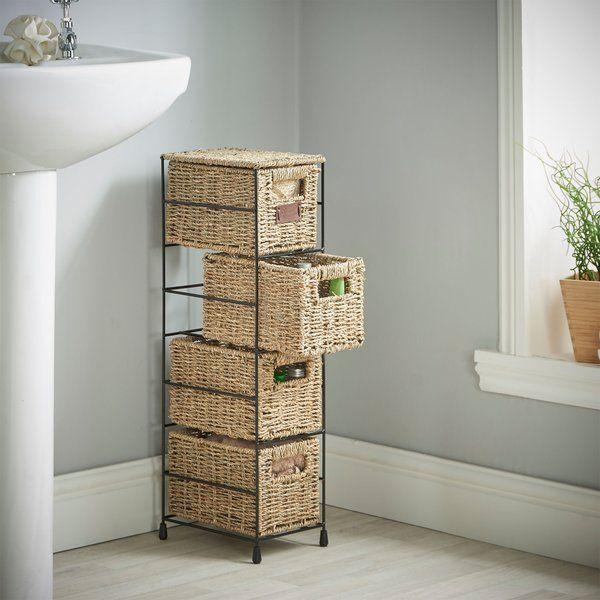 Vonhaus 4 Tier Seagrass Wicker Basket Reviews Wayfair Easy Bathroom Organization Seagrass Storage Baskets Storage Baskets