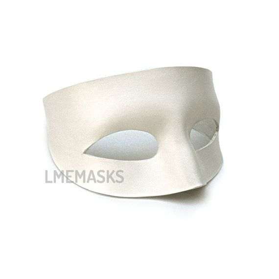 White Leather Mask Pirate Man White Domino Superhero by LMEmasks