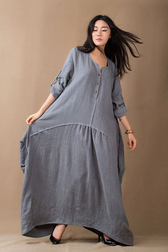 Baggy Muslim Abaya Linen Dress Loose Fit Dress Plus Size Maxi Dress V Neck Long Sleeves