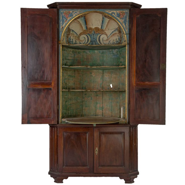 Adorable 19th Century Mahogany And Pine Corner Cabinet