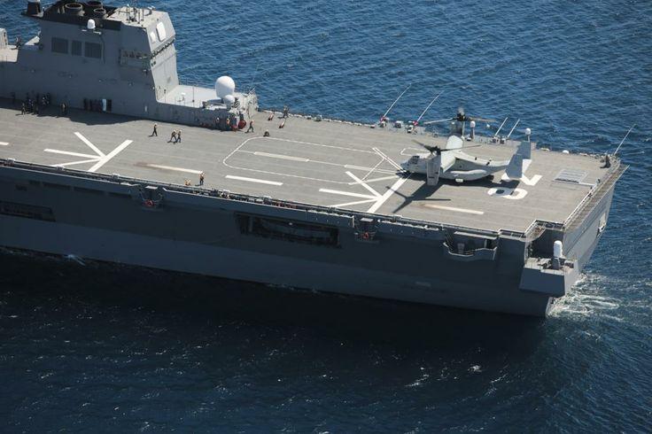 JDS ISE (DDH-182) - MV-22B Osprey langing