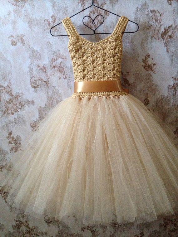 Gold flower girl tutu dress, ankle length tutu dress, Boho crochet tutu dress…