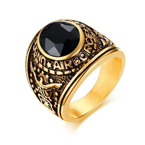 American Air Force Military Style Ring Gold Plated 316L Stainless Steel Montana Stone  https://www.bonanza.com/listings/475844518