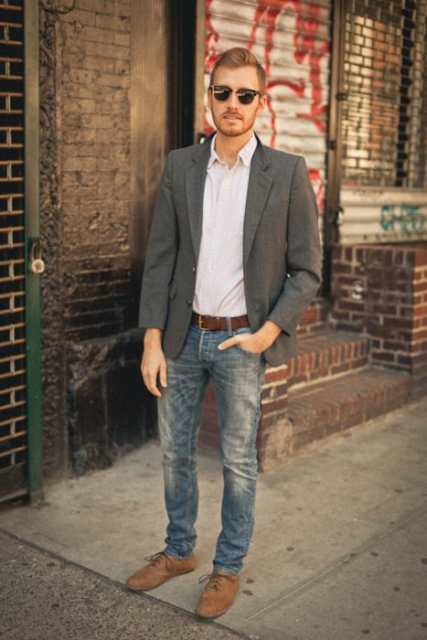 dress shirt tucked in with a casual blazer. -