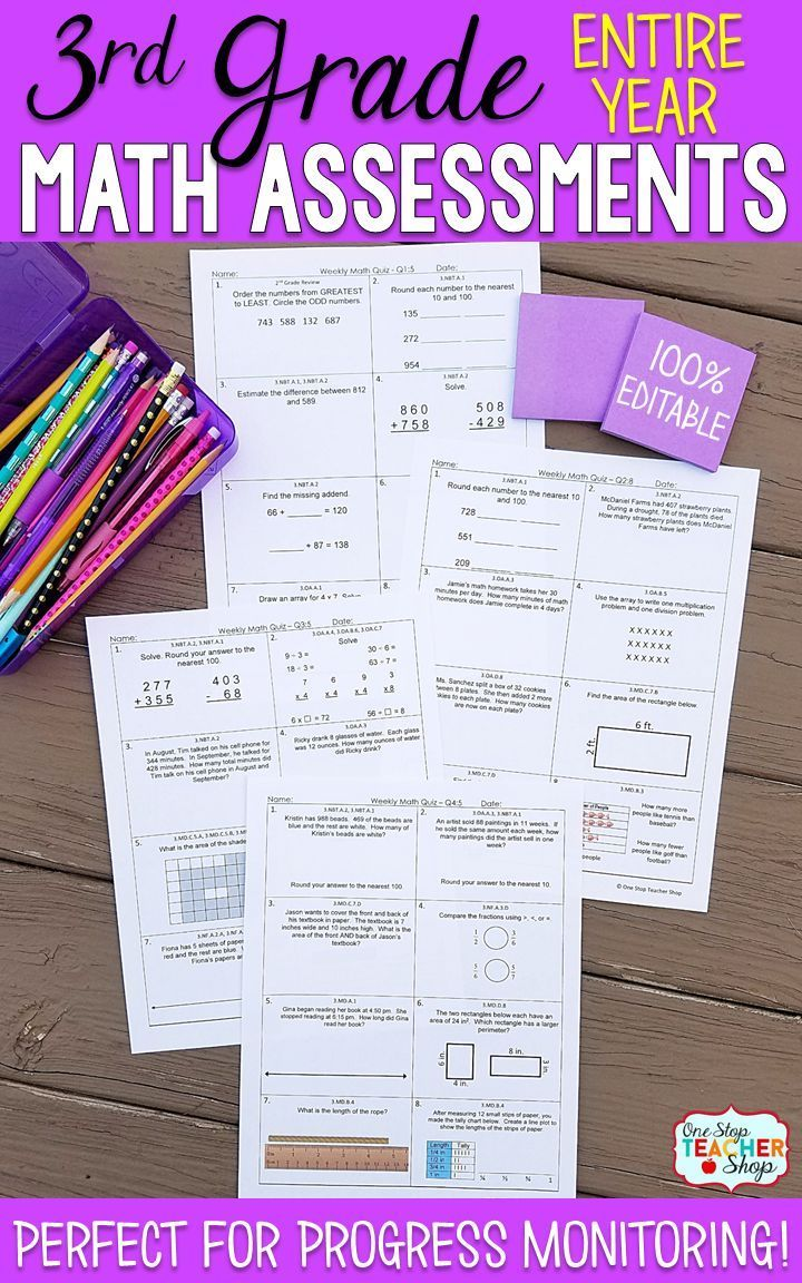 Math Assessments or Quizzes for 3rd Grade. These 3rd Grade Math Quizzes are aligned with the common core math standards. These 3rd Grade Math assessments can also be used as quick checks, spiral math review, and progress monitoring. Covers the Entire Year of 3rd Grade and includes pacing chart and answer keys.