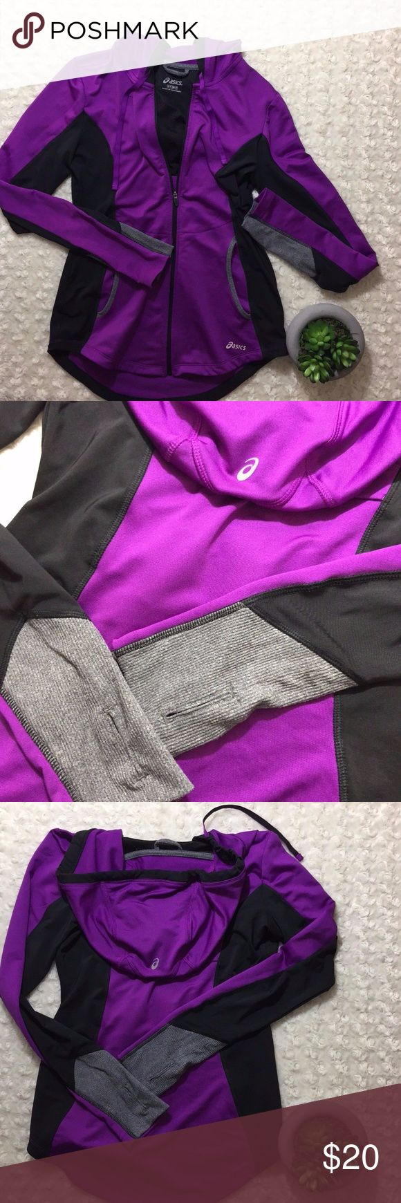 Asics Womens Purple and Black Zip Up Hoodie S In great used condition.  Measurements: Length- 26 inch Bust- 37 inch Sleeve- 25 inch Asics Tops Sweatshirts & Hoodies