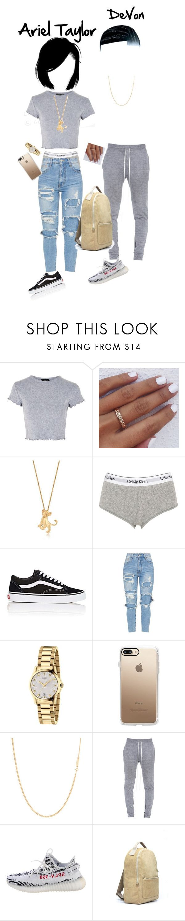 """Harvard kids"" by narmaniorange ❤ liked on Polyvore featuring Topshop, Disney, Calvin Klein Underwear, Vans, Gucci, Casetify, A.P.C., Fear of God and Yeezy by Kanye West"